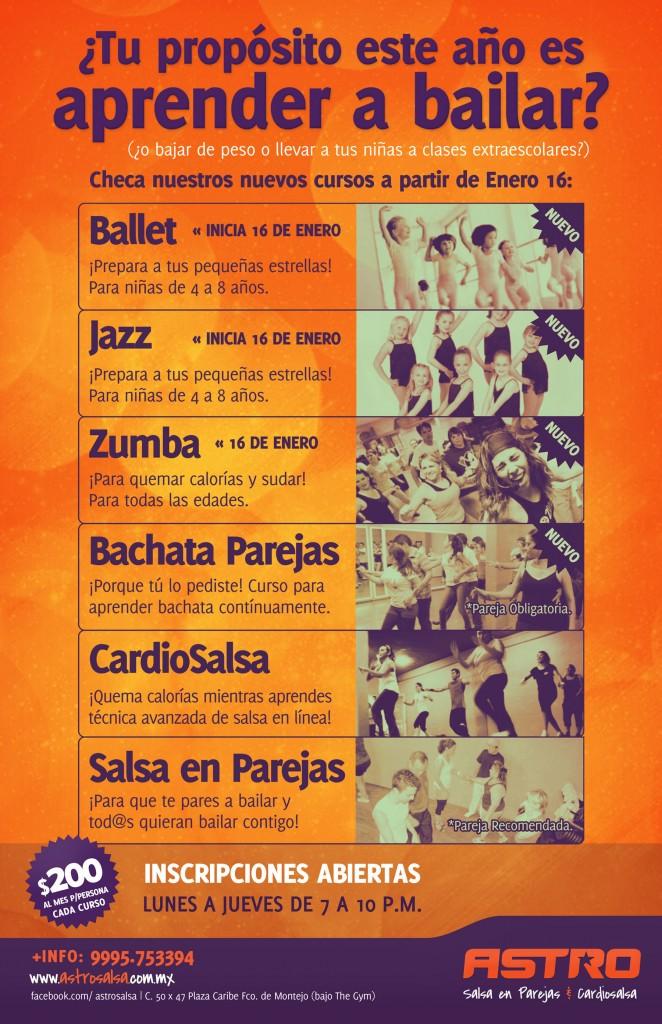 Prueba nuestros nuevos cursos de bachata, zumba, ballet y jazz.