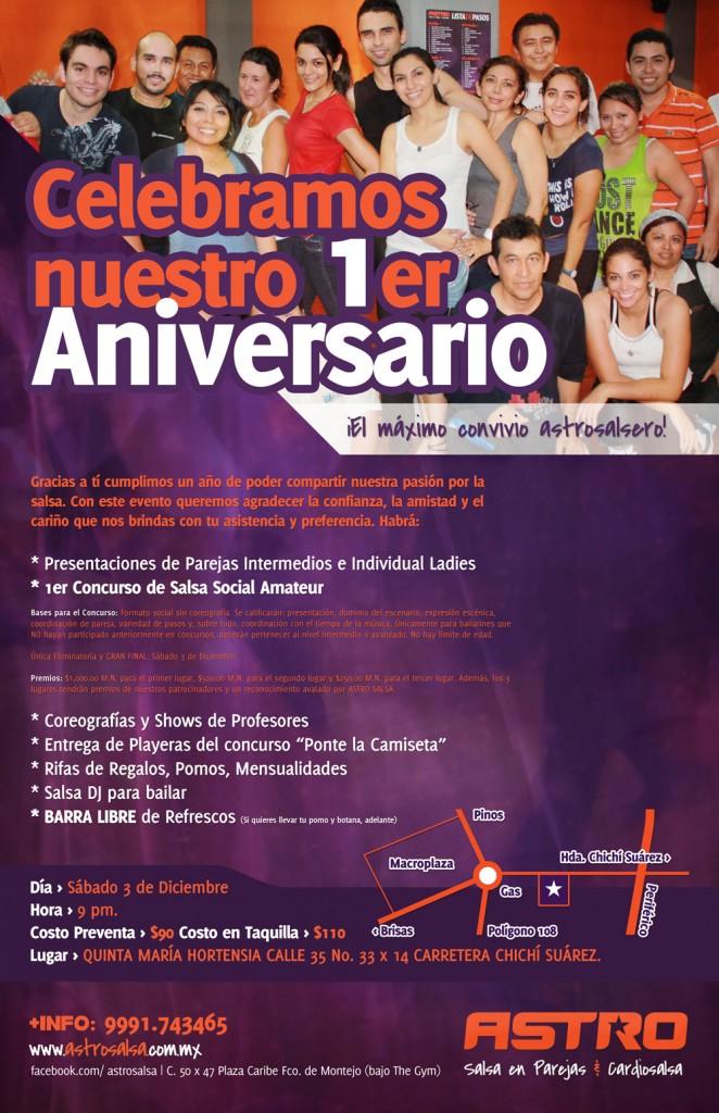 Publicidad para el primer aniversario de Astro Salsa