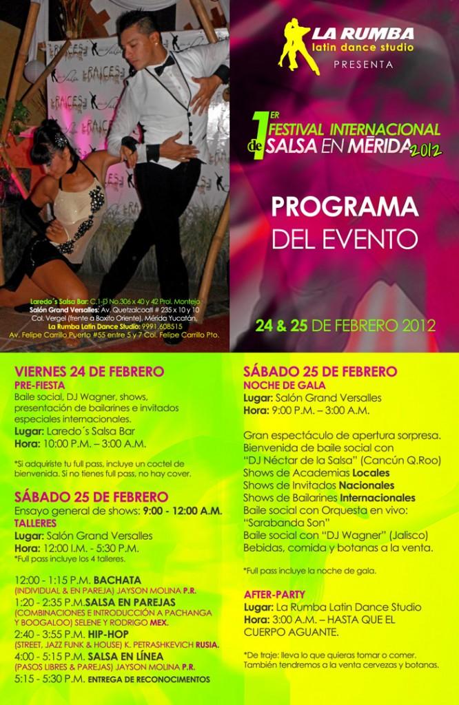 Programa del Primer Festival Internacional de Salsa en Mérida